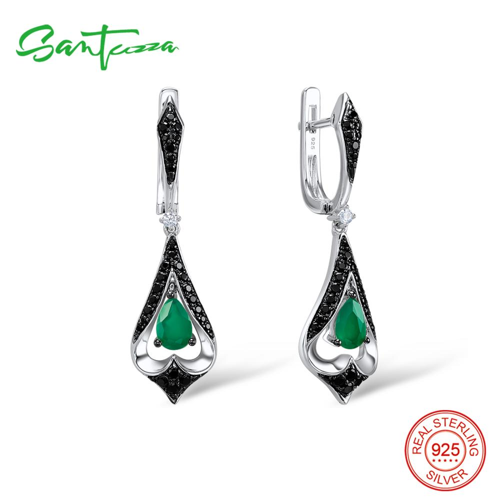 SANTUZZA Silver Drop Earrings For Women 925 Sterling Silver Dangle Green Earrings Long Silver 925 Party Fashion Jewelry цена 2017