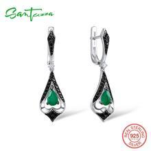 SANTUZZA Silver Drop Earrings For Women 925 Sterling Silver Dangle Green Earrings Long Silver 925 Party Fashion Jewelry