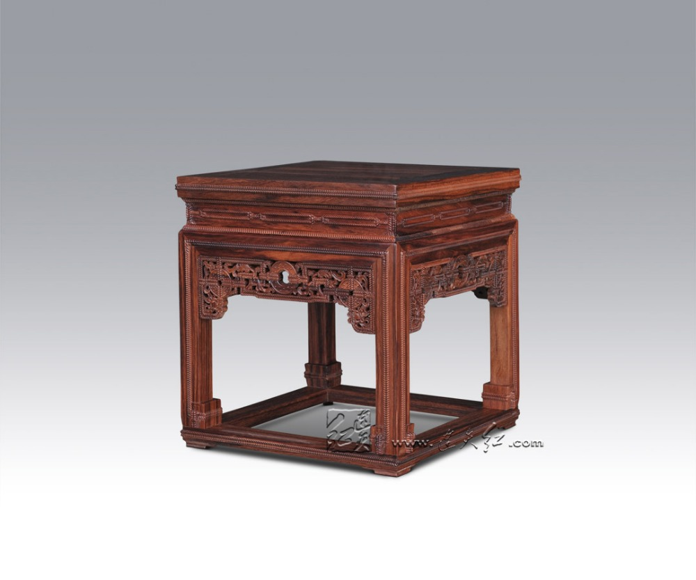 Burma Rosewood Stool With Fine Piercing Engraving of Department of Jomon Choi Living Room Square Bench Classical House Furniture precise restoration of the palace museum collection chinese classical furniture burma rosewood incense stand carving handicraft