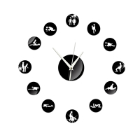 Adult Game Sexy DIY Adult Room Couple Flirting Foreplay of Sex Toy Giant Wall Clock Sex Love Position Large Wall Clock Art 4