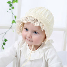 100% Cotton Girls Sun Bonnet Hat Spring Summer 0 - 36 Months Baby Kids Cute Ruffle Lace Tutu Cup Toddler Girls Clothes