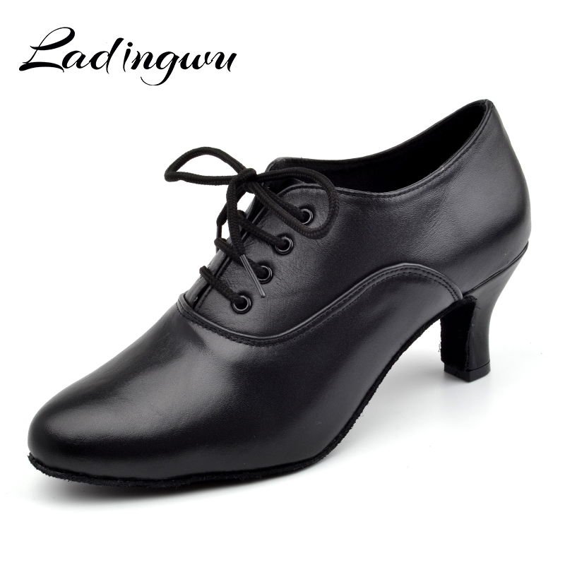 Ladingwu Pointe Dance Shoes Women's Genuine Leather Shoes For Ballroom Dancing Latin Woman Salsa Teacher Dance Shoes Heel 5cm