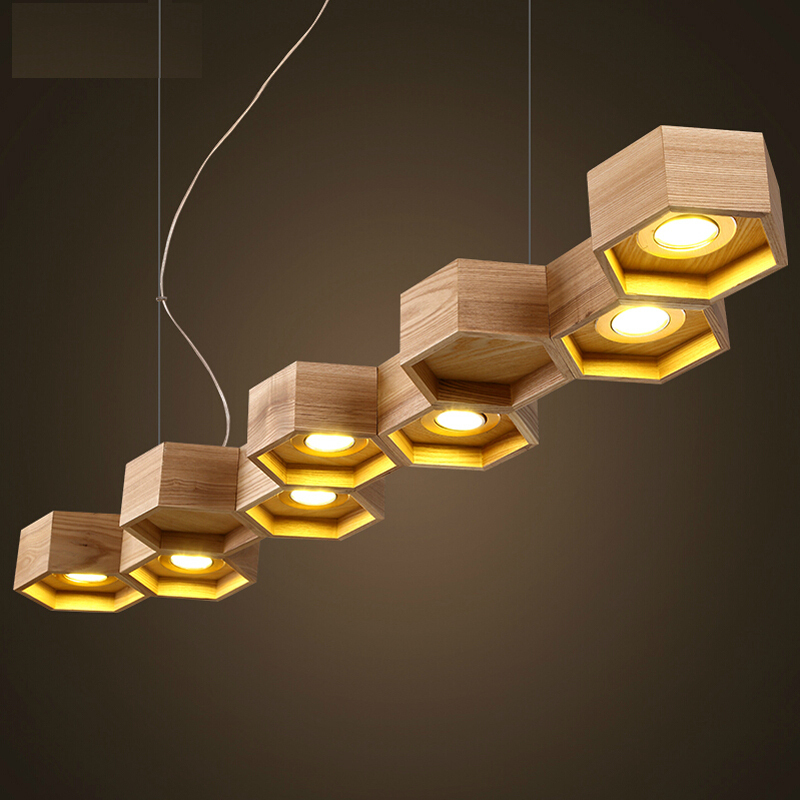 Slatted Wooden Honeycomb Structure Pilke Series Pendant