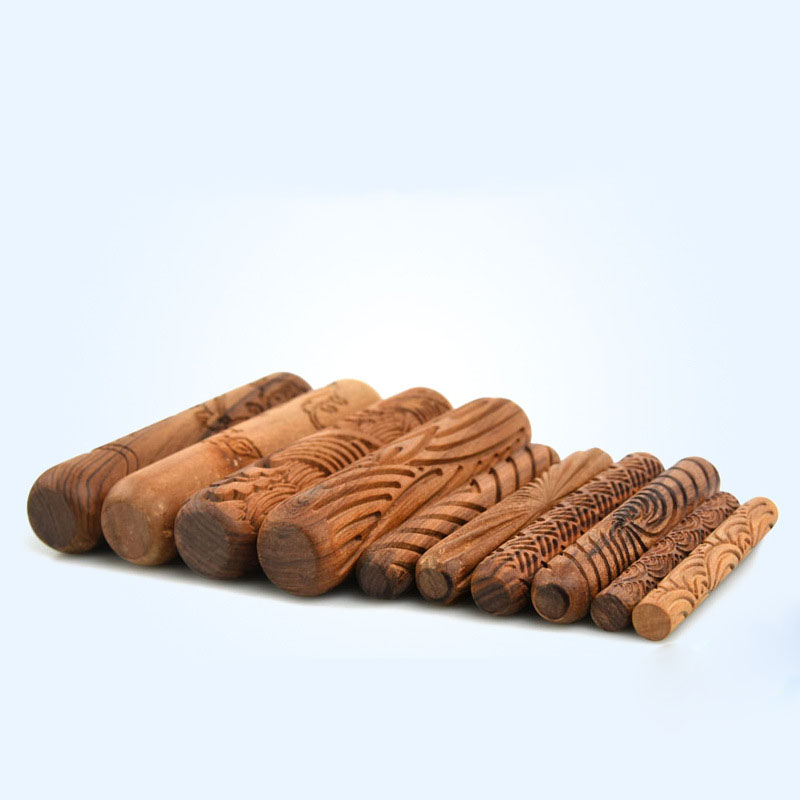 Wood Texture Roll Pressed Printing Texture Tools Polymer Clay Ceramic Pottery Tools Rolling Pin 10pcs set