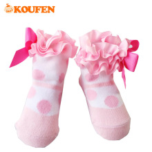 OKOUFEN Lace Ruffles Polka Dots Cute Style Baby Girls Socks Princess Knotted Bow Tie Little Girls Pure Cotton Socks