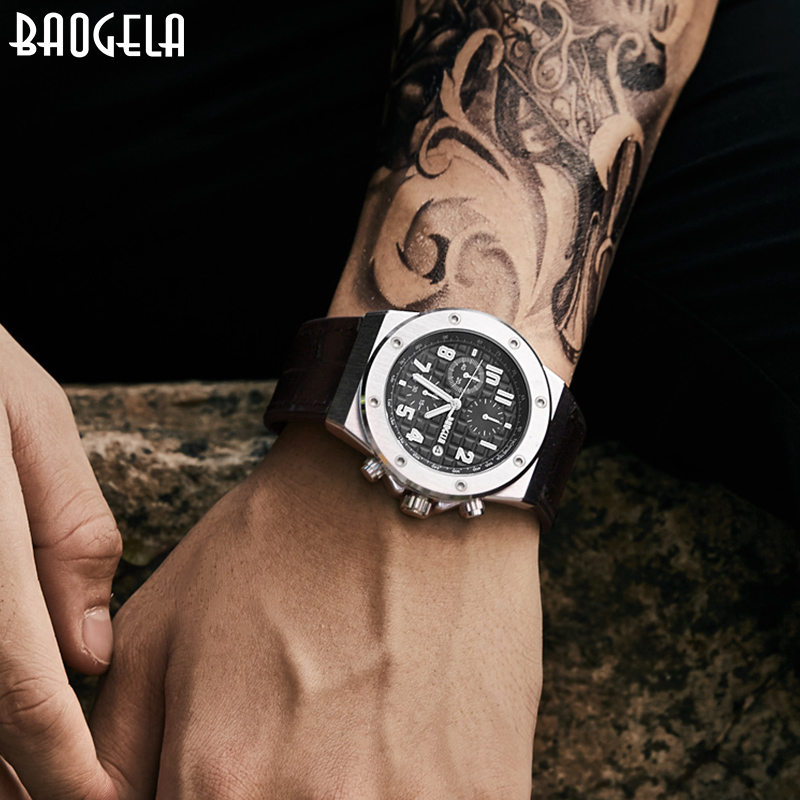 BAOGELA Timing Watch Men's Sports Watch Quartz Watch Leather Brand Date Indicator Waterproof Watch 1805