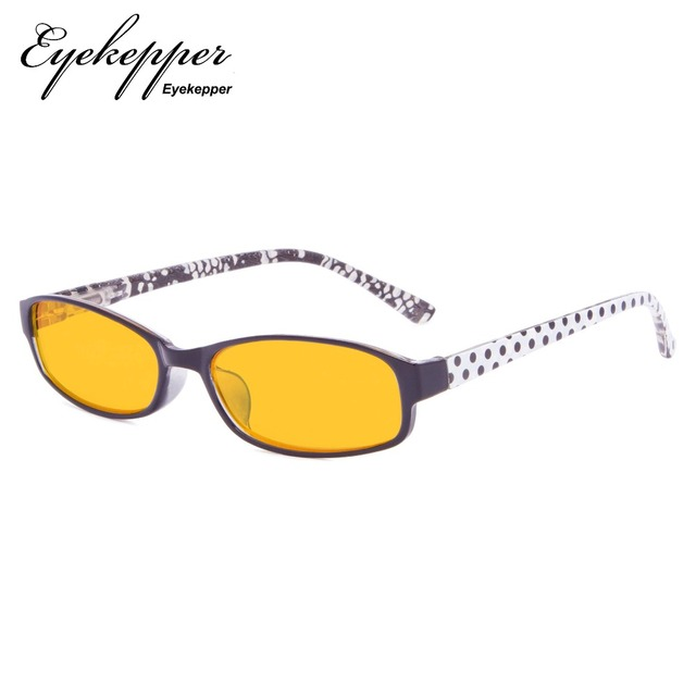 529487f72fc XCG908P Eyekepper Polka Dots Patterned Temples Reading Glasses with 80%  Blue Blocking Visible Coating Amber Tinted Lens