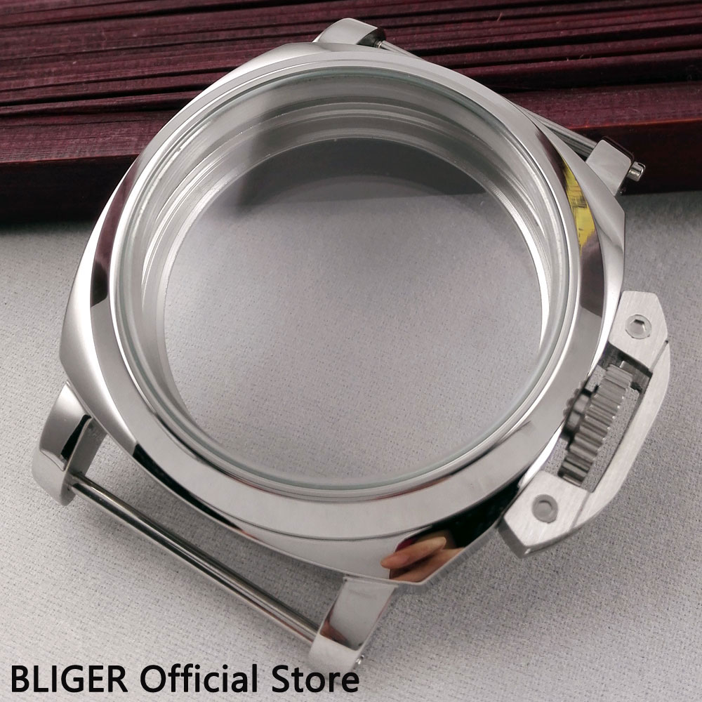 Polished 44mm Stainless Steel Watch Case Fit For ETA 6497 6498 Hand Winding Movement C1