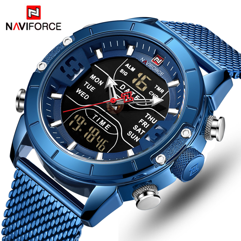 NAVIFORCE Mens Watches Top Luxury Brand Men Sports Watches Men's Quartz LED Digital Clock Male Full Steel Military Wrist Watch(China)