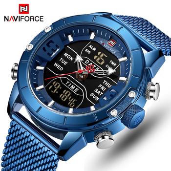 NAVIFORCE męskie zegarki Top luksusowa marka mężczyźni zegarki sportowe męskie kwarcowy LED cyfrowy zegar męski pełny stalowy wojskowy zegarek na rękę tanie i dobre opinie 24 5cm QUARTZ Podwójny Wyświetlacz 3Bar Bransoletka zapięcie STAINLESS STEEL 15mm Hardlex Nie pakiet 45mm NF9153 23mm