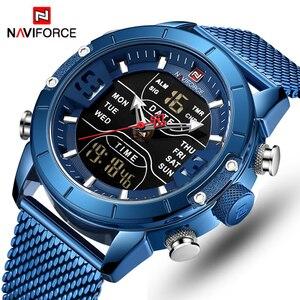 Image 1 - Часы наручные NAVIFORCE Мужские кварцевые, брендовые Роскошные спортивные светодиодные цифровые двойные стальные в стиле милитари