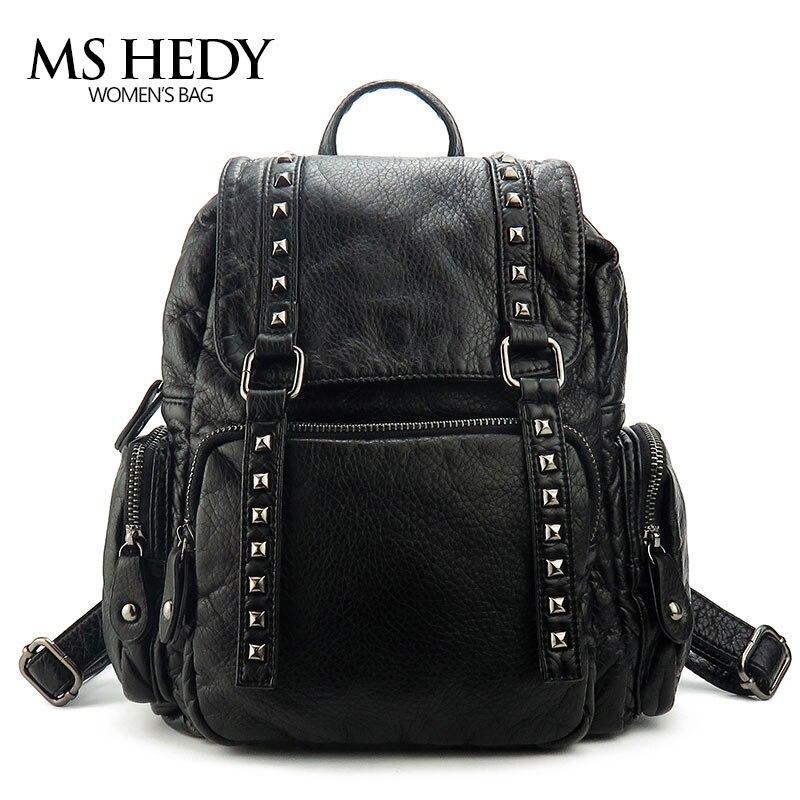купить MS HEDY Mini Rivet Vintage Backpack Women Black Back Packs Bag Female for Travel High Quality Girls Black Backpack по цене 1564.22 рублей
