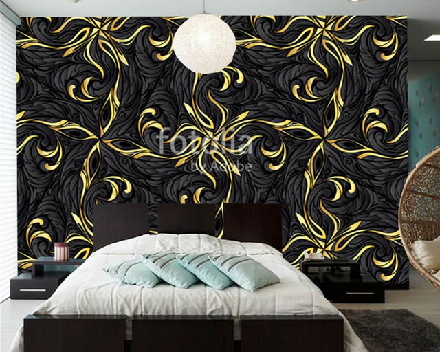 Modern Slaapkamer Behang : Custom abstract behang gold abstract patroon moderne