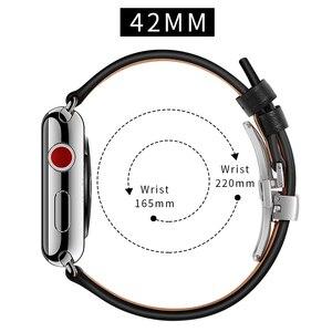 Image 5 - Cinturino in pelle Per apple watch 5 4 band correa apple watch 42mm 38 millimetri 44 millimetri 40 millimetri iWatch 4 3 2 Farfalla fibbia pulseira cinturino
