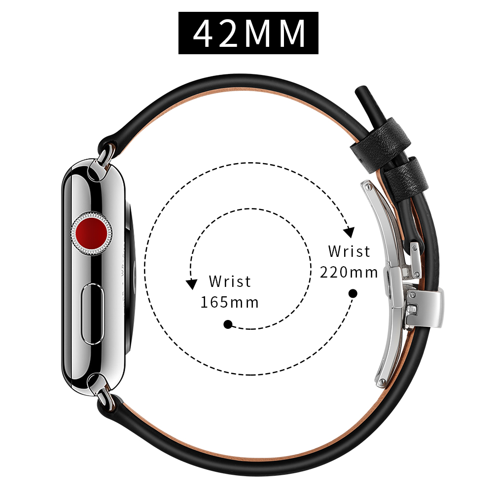 Image 5 - Leather Strap For Apple watch 5 4 band correa apple watch 42mm 38 mm 44mm 40mm iWatch 4 3 2 Butterfly buckle pulseira watchbandWatchbands   -