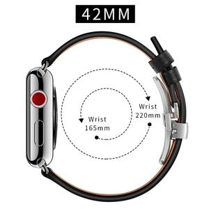 Image 5 - レザーストラップ apple watch 5 4 バンドコレア apple watch 42mm 38 ミリメートル 44 ミリメートル 40 ミリメートル iWatch 4 3 2 蝶バックル pulseira 時計バンド
