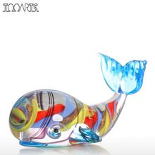 Tooarts Whale  Figurine Gift Glass Animal Mini Statuettes Handblown Home Decor Multicolor Modern  Home Decoration Accessories