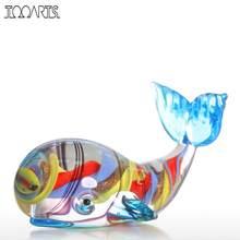 Tooarts baleia estatueta presente de vidro animal mini estatuetas handblown casa decoração multicolorido moderna casa acessórios