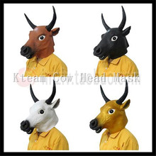 Hot Sale 2016 Full Face Overhead Cosplay Masquerade Fancy Cow Mask Dress Up Latex Carnival party Cow mask theater prop Bull Mask