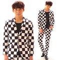 Trajes de hombre traje masculino bailarín del cantante dj mostrar partido Masculino traje chaqueta delgada masculina traje trajes ds barra de rejilla blanco y Negro