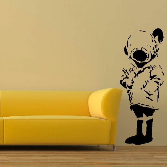 LARGE WALL STICKER BANKSY DIVER GIRL LIFE SIZE BEDROOM ART UK TRANSFER DECAL  BLACK WALL STICKER