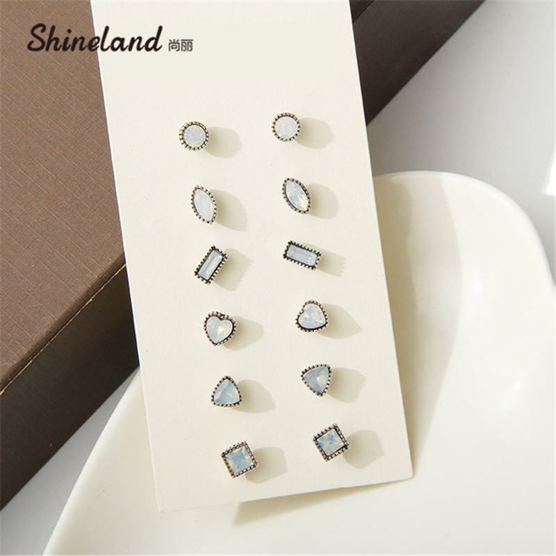 New Brand Design 6 Pairs/Set Cute Moon Stone Rhinestone Earring Mixed Shaped Square Geometry Ear Studs Earrings Big Sale