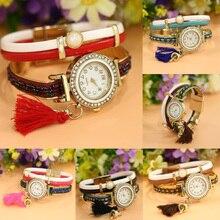 Women's Classic Bracelet Quartz Watch 0.98″ Dial Original Design Tassel Pendant Watch Leather Watchband Female Casual Wristwatch