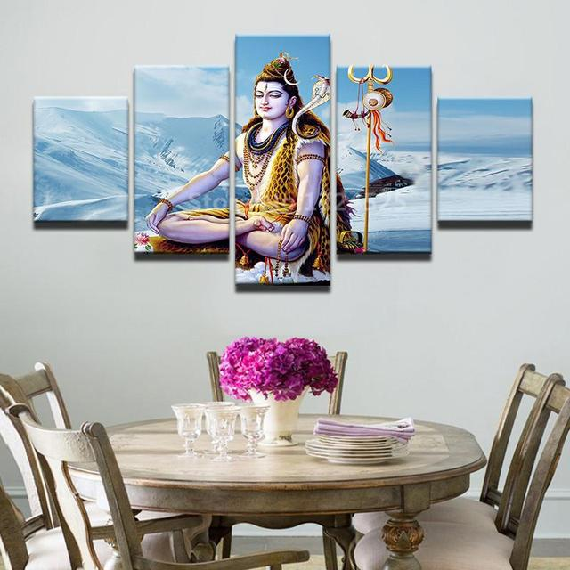 HD Print 5pcs canvas wall art HINDU GOD GANESHA Painting Canvas ...