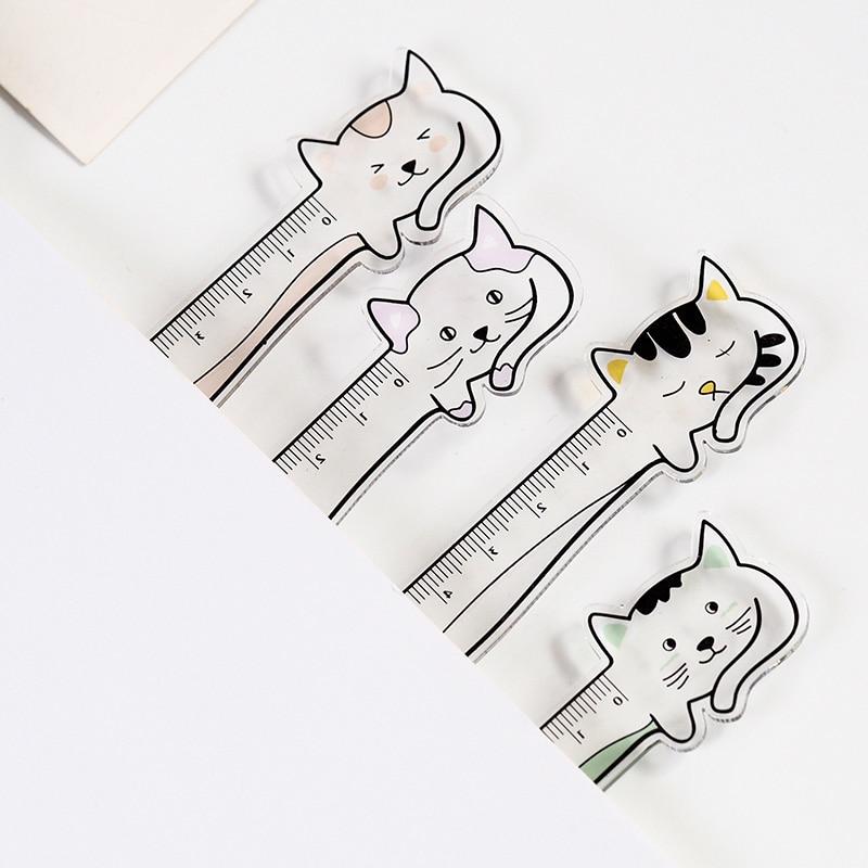 Cute Kawaii Animal Cat Rabbit Crylic Ruler Cartoon Bookmark Creative Learn Drawing Straight Rule School Stationery Supplies Gift