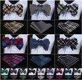 Cheque 100% algodón Jacquard hombres mariposa auto pajarita BowTie Pocket Square pañuelo pañuelo Set Suit # f9s