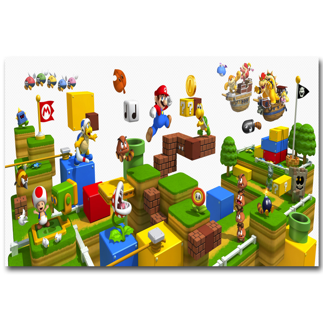 Super mario 3d world art silk fabric poster print 13x20 24x36 inch super mario 3d world art silk fabric poster print 13x20 24x36 inch vedio game pictures for living room wall decoration 014 in painting calligraphy from gumiabroncs Image collections