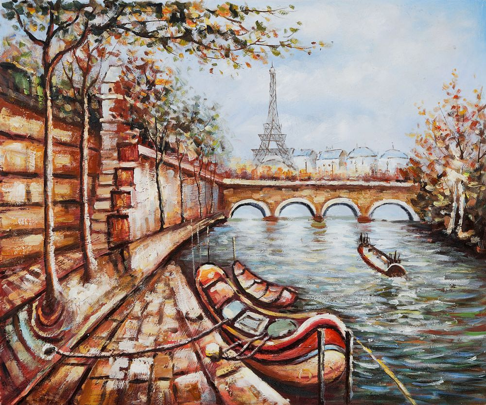 No Frame Wall Decor Hand Painted Canvas Oil Painting for Living Room Office Decorative Art Boat on the Bank of the Seine