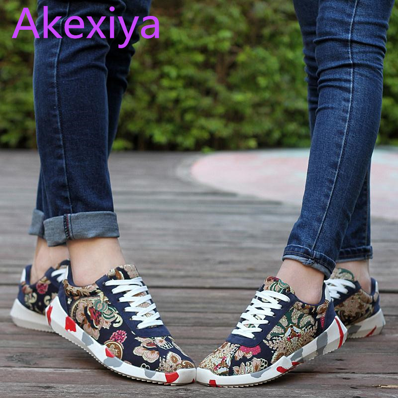 Akexiya Tenis Shoes Zapatillas Deportivas Mujer Flower Print Chaussure Homme Designer Breathable Male Canvas Casual Shoes
