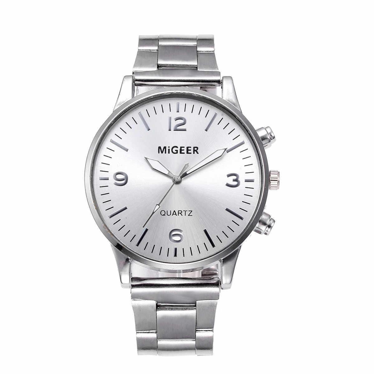 GEMIXI ออกแบบใหม่แฟชั่นแฟชั่นผู้ชายคริสตัลสแตนเลสสตีลนาฬิกาข้อมือควอตซ์สร้อยข้อมือ Sep.26