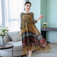 Printed Summer Dress Plus Size S 4XL 2018 Vintage Dresses high quality Party Elegant Vestido Sling Two piece Robes