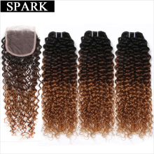 SPARK Ombre Brazilian Kinky Curly Weave Human Hair Bundles with Lace Closure Free Part T1B/4/30 Remy Hair 3 Bundles with Closure