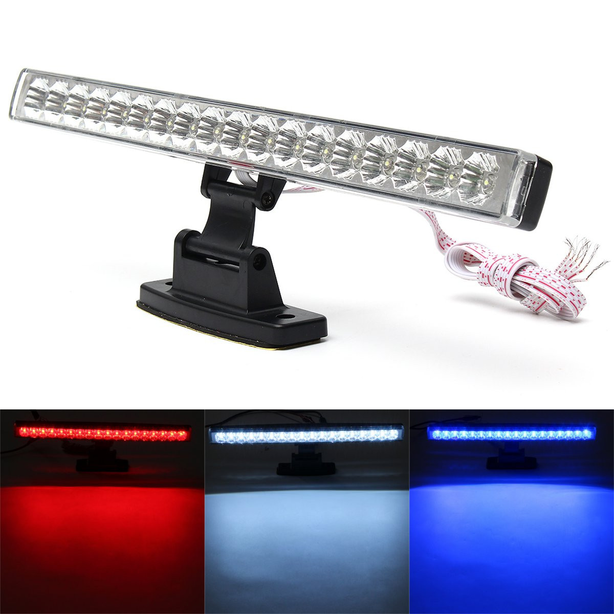 Universal 18 LED Car High Mount Stop Lamp Brake Reverse Turn Signal Running Third Rear Tail Light Bar LED Light car styling tail lights for toyota highlander 2015 led tail lamp rear trunk lamp cover drl signal brake reverse