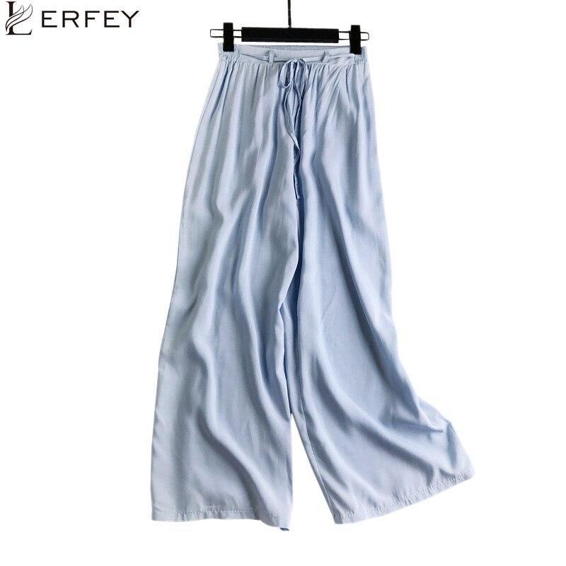 LERFEY Women Loose Trousers Sashes Female Wide Leg Pants Summer Beach Elastic High Waist Casual Trouser New Pants Capris