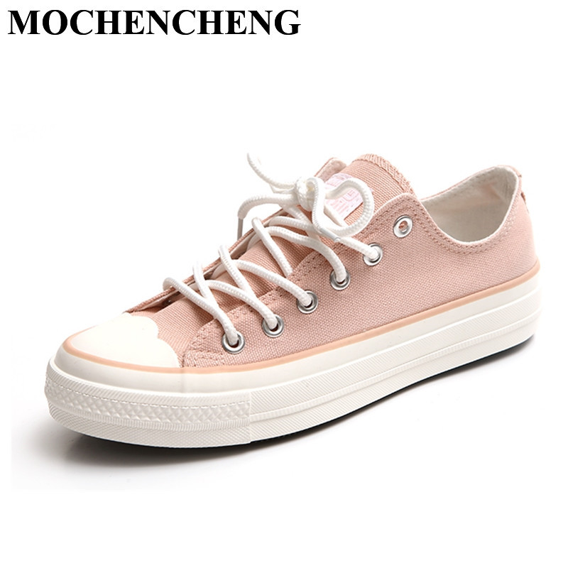 New Women Canvas Shoes for Sping Summer Breathable Lace-up Casual Shoes Fashion Trend Solid White High Quality Leisure Shoes women s shoes 2017 summer new fashion footwear women s air network flat shoes breathable comfortable casual shoes jdt103