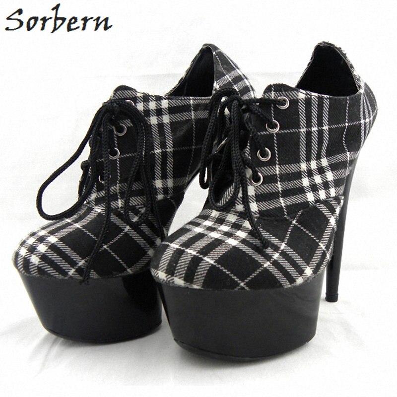 Sorbern Fashion Women Pumps Shoes Lace Up 15cm Heels Ladies Party Shoes Pumps Women Shoes 2018 Plus Size Pumps Shoes