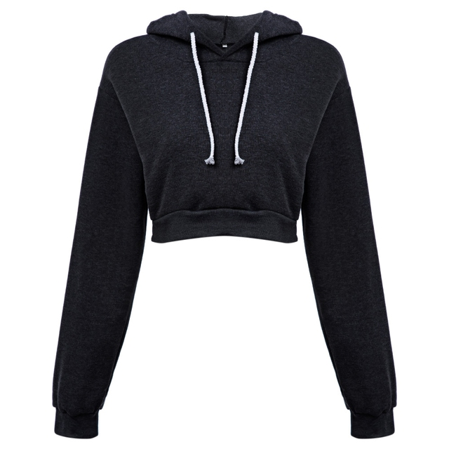 New Trend 2017 Casual Grey and Black Cropped Sexy Hoodies