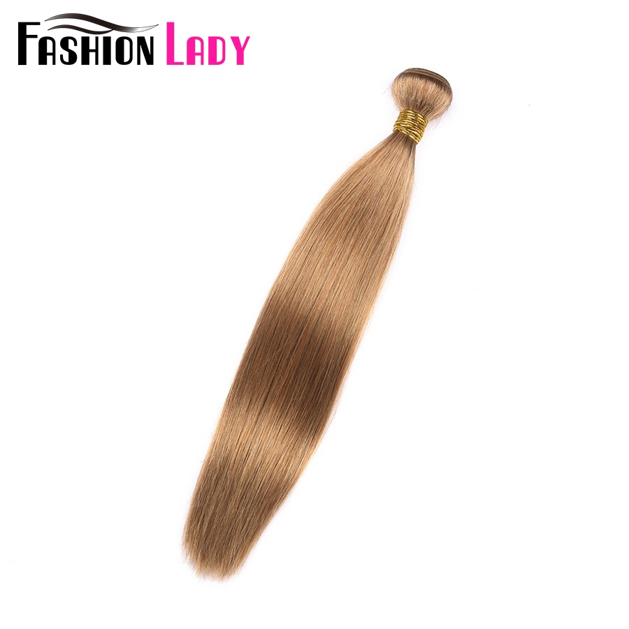 FASHION LADY Pre-Colored One Piece Indian Straight Hair 100% Human Hair Weave #27 Blonde Human Hair Bundles Non-Remy