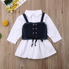 Emmaaby/платье для маленьких девочек Повседневное платье-рубашка принцессы+ джинсовый жилет модные вечерние платья с длинными рукавами; одежда комплект из 2 предметов