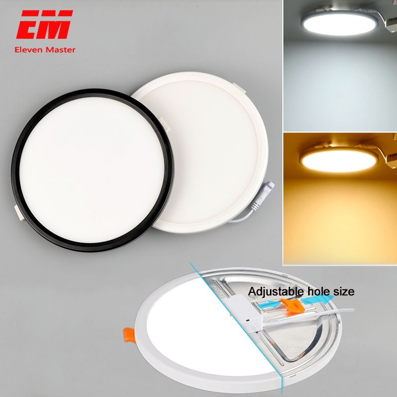 Adjustable Punch Holes Size Ultra Thin 6W / 8W / 15W /20W LED Ceiling Recessed Grid Downlight Slim Round Panel Light ZTD0003