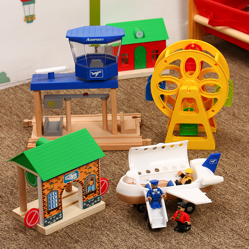 EDWONE AirPlain Ferris Wheel Cargo Ship Wooden Train Track Railway Accessories Educational Slot DIY Original Toy Gifts For Kids