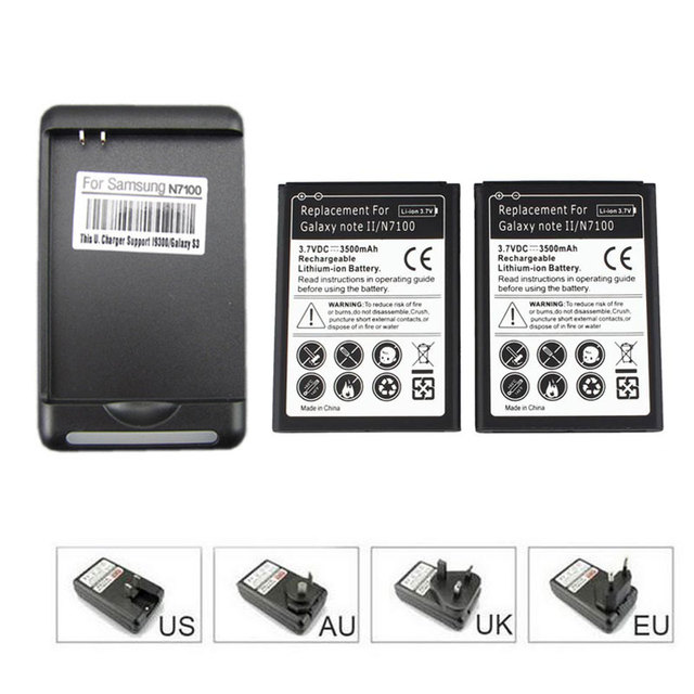2x 3500mah Cell Phone Battery +USB Wall Charger for Samsung Galaxy Note 2 II GT-N7100 N7100 High Capacity Free Shipping