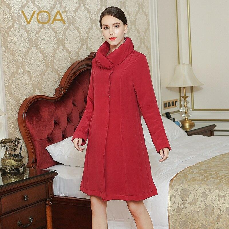 VOA 2017 Fall Winter Fashion Dark Red Brief Solid Long Sleeve Heavy Coat Plus Size Women Silk Parka Thick Simple Jacket M3601 voa 2017 autumn winter new fashion women slim short jacket white brief casual long sleeve print silk jacquard coat m6137