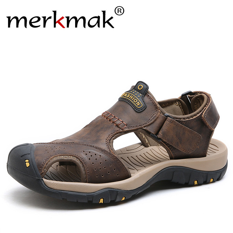 Merkmak Genuine Leather Summer Outdoor Beach Sandals Anti-shock Non-Slip Mens Casual Shoes Comfortable Toe Protective Sandals