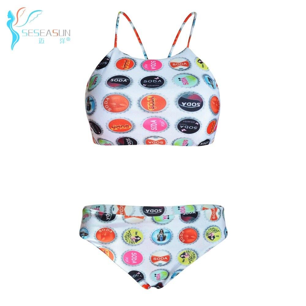 seseasun soda pop stampato bikini negozio ragazze costumi da bagno sexy della cinghia delle donne bikini