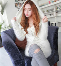 Women's new long sections of plush mink cashmere sweater coat female hooded cardigan free shipping M14